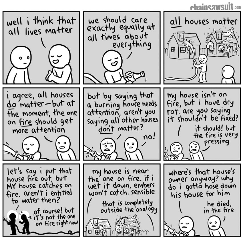 A comic explaining that AllLivesMatter is vaild to a point but certain Lives Matter MORE at particular times